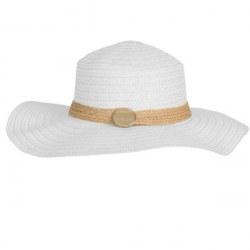 Cappello in paglia a tesa larga bianco