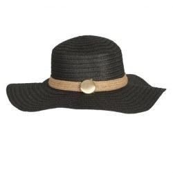 Cappello in paglia a tesa larga nero
