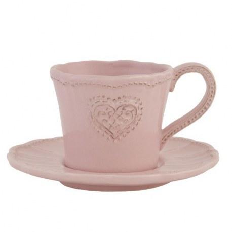 Tazza con piattino Cuore rosa
