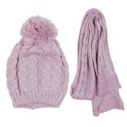 Set sciarpa e cuffia rosa