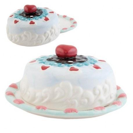 Piatto torta con coperchio Cuore