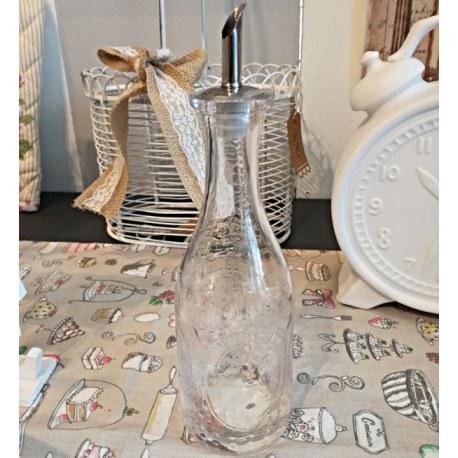 Bottiglia olio e aceto in vetro decorato