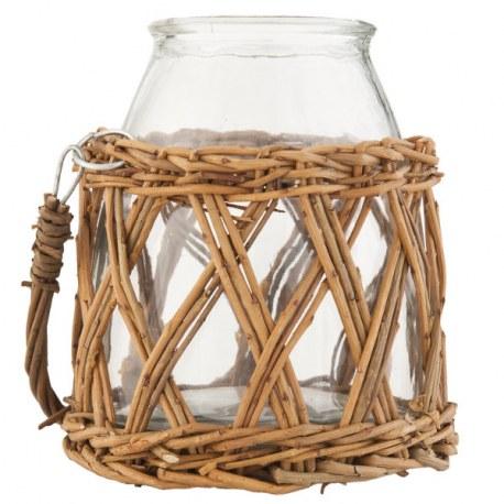 Barattolo in cestino di rattan vasi casa country shop for Vasi in rattan