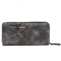 Portafoglio in ecopelle grigio con stella
