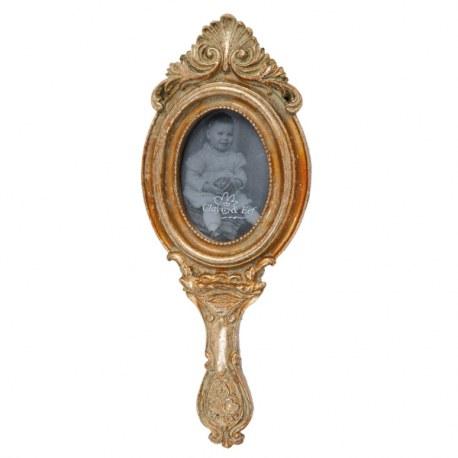 Portafoto specchio a mano dorato