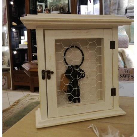 Box portachiavi in legno bianco shabby chic decorazioni for Decorazioni casa online