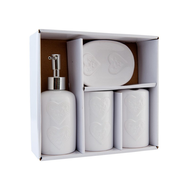 Set bagno cuori shabby chic set bagno casa country shop for Bagno outlet online