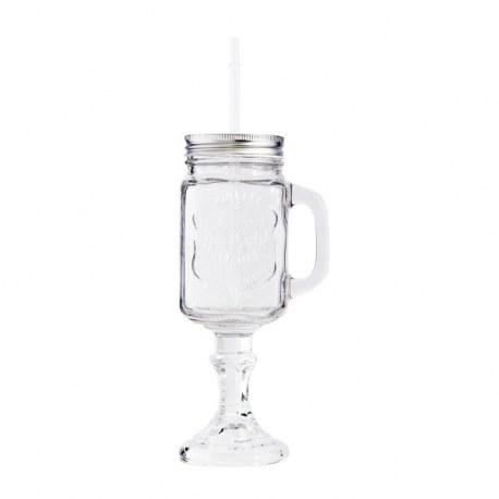 Bicchiere vintage con cannuccia
