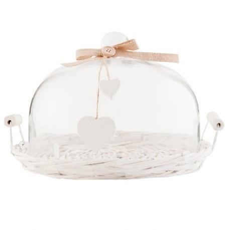 Coprivivande shabby con cupola in vetro
