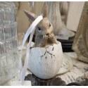 Decorazione country pendente uovo con coniglio