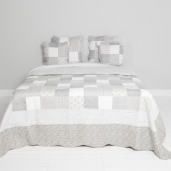 Copriletto country patchwork grigio