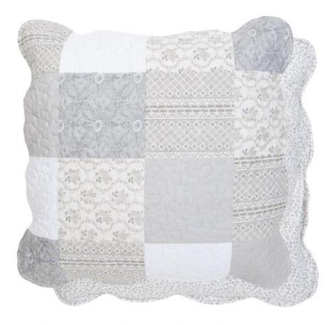 Cuscino country patchwork grigio e bianco