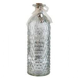 Lampada da tavolo a forma di bottiglia argentata