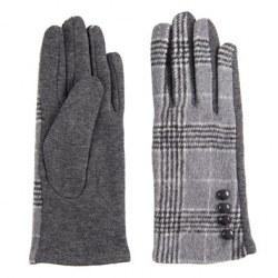 Guanti fashion tartan grigio