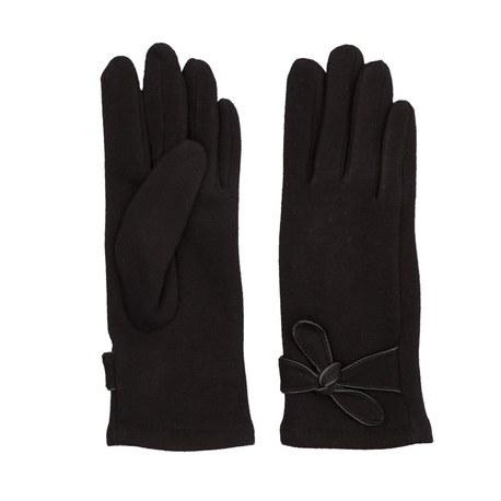 Guanti fashion neri con fiocco