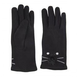 Guanti fashion neri con gatto