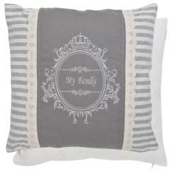 Cuscino grigio e bianco in stile shabby chic
