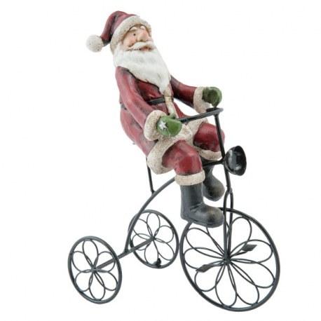 Babbo Natale In Bicicletta.Decorazione Con Babbo Natale In Bicicletta