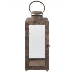 Lanterna marrone in vetro e ferro