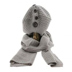 Sciarpa e cappello con bottoni grigio