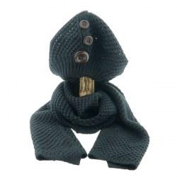 Sciarpa e cappello con bottoni nero