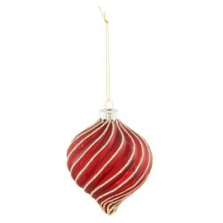 """Palla di Natale """"Circus"""" rossa con brillantini"""