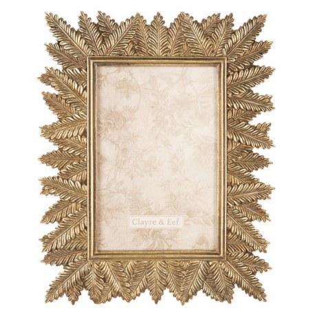 Portafoto color oro con foglie decorative