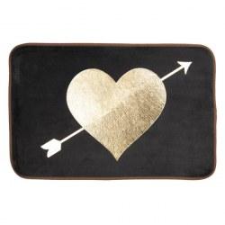 Tappetino da bagno cuore nero e oro