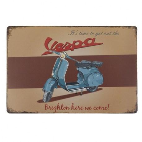 Targa vintage in metallo Vespa